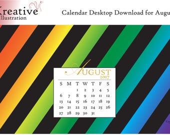 Digital Download Calendar for the Month of August 2017