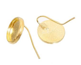 10 pcs. Gold Plated Earring Hooks Settings Bezels Cabochons - 12mm Glue Pad Setting