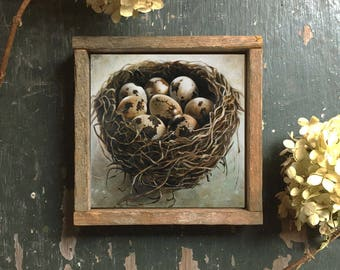 Bird Nest Art Print, Bird's Nest With Eggs Wall Decor, Bird Nest Art Print, Bird Nest with Eggs, Framed Wall Art Print, Nest Art, Home Decor