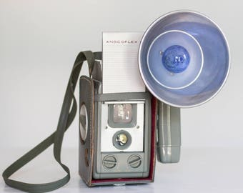 Vintage Anscoflex II Medium Format Camera with Flash and Case