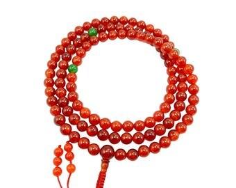 Carnelian Tibetan Buddhist 108 Bead Mala for Meditation with Green Jade Spacers