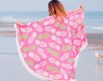 Pink Pineapple Beach Set - Round Towel - Monogrammed Beach Bag - Swim Cover Up - Personalized Towel - Pink Beach Tote - Round Beach Blanket