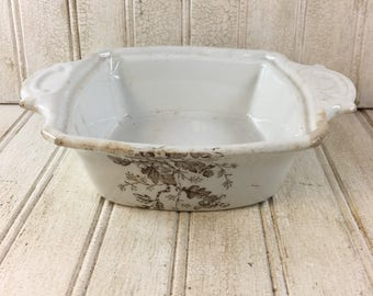 Vintage Shabby Chic Brown Transfer-ware Ironstone Lidded Butter Dish with Insert