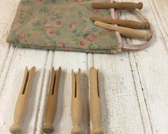 Vintage Toy Dolly Handmade Cloth Clothespin Bag