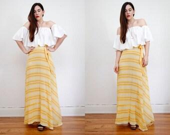 Vintage Indian Cotton Batik  Chevron Stripe Boho Hippie High Waist Maxi Skirt 70s