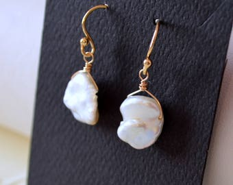 White Keishi Pearl Earrings, Gold Filled, Real Keshi Freshwater Pearls, Beach Jewelry, Bridal, Simple, June Birthstone, Free Shipping