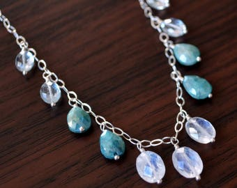 Silverite Necklace, Rainbow Moonstone, Pale Blue Aquamarine, Elegant, Sterling Silver, Gemstone Jewelry, Winter Wedding, Free Shipping