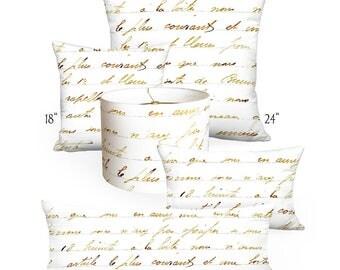 Pillow Cover - Pillow - Bronze French Script - Square or Rectangular - 12x18 12x20 14x20 14x26 16x24 16x26 16x 18x 20x 22x 24x 26x 28x