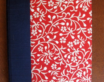 Small Unlined Handbound Hardcover Journal Red White Flowers