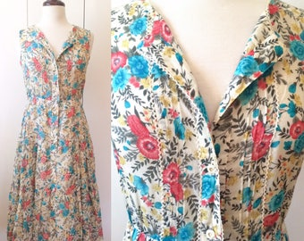 70s midi dress, floral print with tiered skirt, Japanese vintage XS S