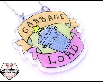 Garbage Lord Necklace, Glittery, Trash, Trash Jewelry