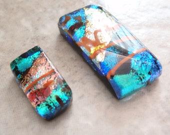 Dichroic Glass Cabachon Rectangular 30mm 18mm Orange Blue Destash Lot of Two