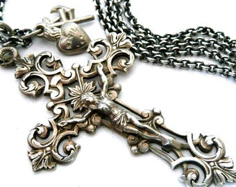 French Silver Crucifix and Faith, Hope and Charity Necklace
