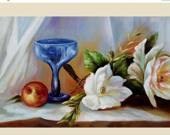 70% off ORIGINAL Oil Painting Sunday Morning 36 x 23 Colorful Flower White Pink Red Apple Green Brown Realism Love  Romance Brush ART by Mar