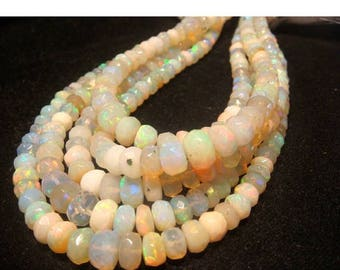 ON SALE 55% Ethiopian Welo Opal - Ethiopian Welo Opal Faceted Rondelles - 6mm To 4mm - 9 Inch Half Strand - 90 Pieces Approx