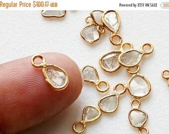 ON SALE 55% 2 Pc White Slice Rough Diamond Connector, White Slice Raw Diamond Connector, 925 Silver Gold Plated Diamond Connectors, 6-9mm -