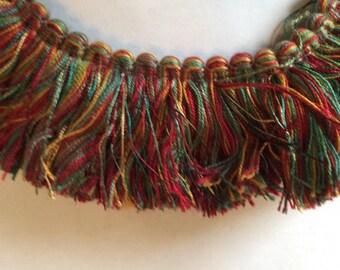 Brush FRINGE red gold teal 2 inch