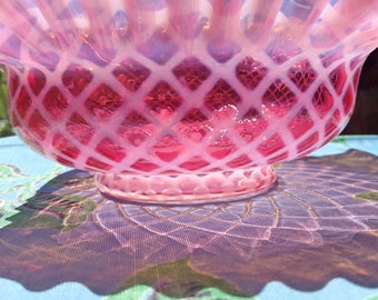 Vintage Bride's Basket Cranberry Pink Opalescent Lattice Glass Bowl Undulating Rim Beautiful Variations in the Light