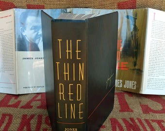 First Edition The Thin Red Line James Jones 1962 Scribners Vintage Book with Dust Jacket Great Condition A-6.62[H] First Printing