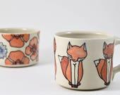 Fox Coffee Mug / Unique Pottery Mugs / Fox Mug / Handmade Pottery Mug / Pottery Mug Ideas /  Orange and White / Illustrated Fox Mug