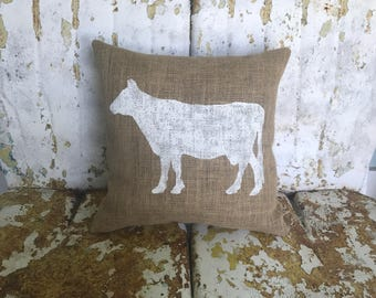 Painted Burlap COW Decorative Throw Pillow Farmhouse Chic Animal Decor Farm