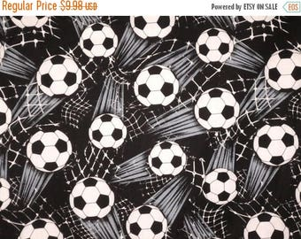 ON SALE Black and White Allover Soccer Print Pure Cotton Fabric--One Yard