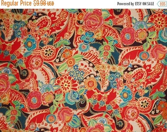 ON SALE Elegant and Rich Red with Teal and Metallic Gold Clara Flora Print Pure Cotton Fabric--By the Yard