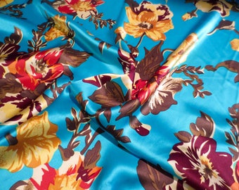 Bright Blue with Brown Scattered Floral Print Pure Silk Charmeuse Fabric--Buy the Yard