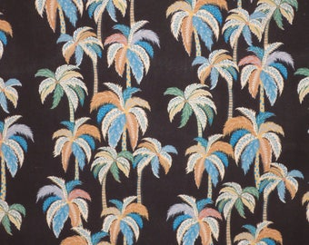Blue and Tan on Black Palm Tree Print Hawaiian Rayon Shirting Fabric--By the Yard