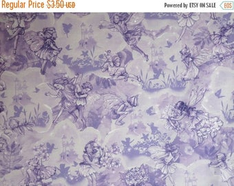 ON SALE REMNANT--Lavender on Lavender with Metallic Silver Fairy Dreamland Print Pure Cotton Fabric--5/8 Yard