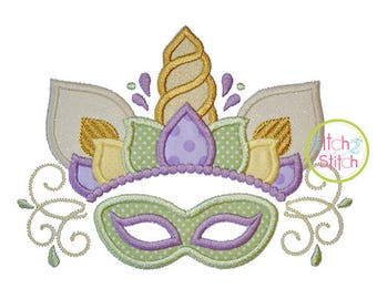 Unicorn Horn Mardi Gras Mask Applique Design for Embroidery Machines, INSTANT DOWNLOAD now available