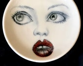 For Billie, Porcelain Rig Dish with an Original Drawing of a Woman's Face, Lady Face Ring Dish Plate, Handmade, Ceramics and Pottery