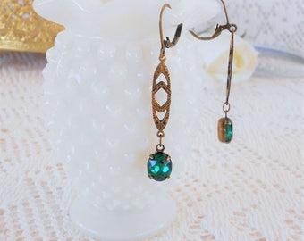 Emerald Earrings, Art Deco Earrings, Art Nouveau, Old Hollywood, Gatsby Wedding, Estate Jewelry, Retro Glam, Green Earrings, Vintage Bride