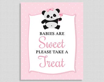 Babies Are Sweet Please Take a Treat Shower Table Sign, Pink Panda, Baby Girl Shower, INSTANT PRINTABLE