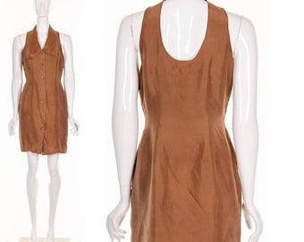 Vintage 90's Silk TUXEDO Back Cutout Minidress Brown Silk Peter Pan Collar Short Dress Medium