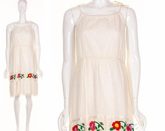 MOVING SALE Vintage 60's Gypsy Wedding Dress Bohemian White Wedding Dress Beach Dress Colorful Hand Embroidered Flowers  Sundress Festival D