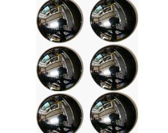 HEMATITE  (33732)  * * * * PACK (6 Stones) Round- 12mm Mirror-Finish Metalic Gray Hematite - Round Cab