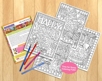 Coloring Page 4 Pack Christmas Holiday Designs Festive Book PDF