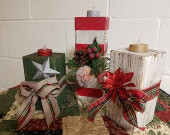Wooden Christmas Candles (Set of 3) #1 Set, Distressed Wooden Candles, Flameless Candles, Wooden Block Candles,