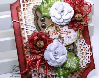 Merry Wishes Christmas Wall Hanging Holiday Decor Polly's Paper Studio Handmade