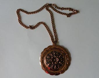 RENOIR Signed Copper Floral Medallion Pendant Necklace