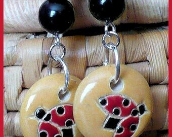 Ladybug Long Dangle Earrings, Hypoallergenic Nickelfree Hooks, Red Ladybug Earrings, Ladybird Charm Earrings, Statement Earrings, For Her