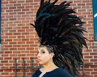 Feather Headdress in Black and Bronze with Skull