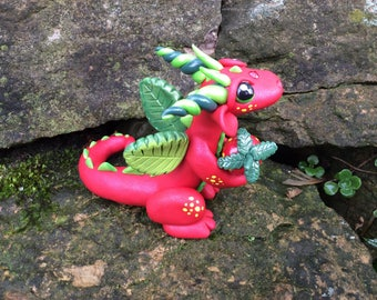 Polymer Clay Dragon Figurine with Strawberry