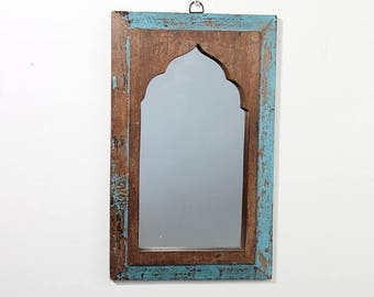 Moroccan Mirror Distressed Bright Blue and Brown Boho Decor Turkish Interior Distressed Wood Wall Mirror