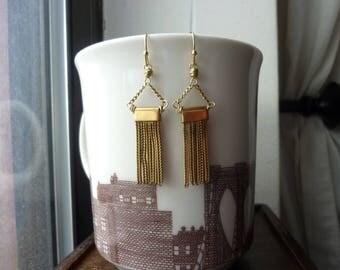 Vintage Solid Brass Tassel Earrings, Dangle, Chandelier, Drop Earrings, Chain Earrings