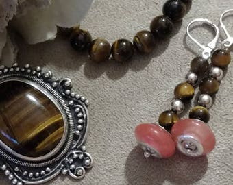 Tiger Eye Sterling Pendant, Bracelet, Earrings, SET Euro Beaded Earrings, Beaded Dangle, Silver Wires, Hand Designed