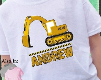 FLASH SALE Heavy Duty Construction Excavator Shirt Personalized with Name Construction zone customized tshirt mud dirt