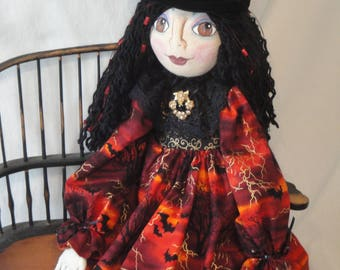 Halloween Witch Art doll, red black witch cloth doll, Halloween collectible witch art doll, hand made  gothic OOAK witch for Halloween
