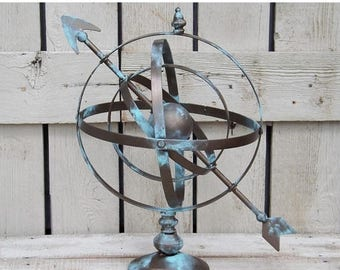ON SALE Armillary Sphere,Globe Sphere With Arrow,Patina,Bronze,Office,Astrological,Sundial,Orb,Modern
